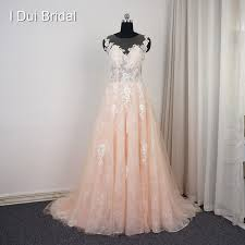 blush wedding dress aliexpress buy illusion back lace blush wedding dress a line