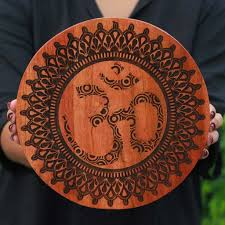 om wood hindu symbol wood wall carved wooden poster