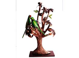 handcrafted metal tree decor table bird candle holder