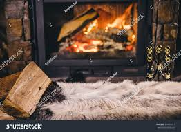 warm cozy fireplace real wood burning stock photo 524901013