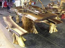 Solid Walnut Dining Table And Chairs Rustic Log Table Rustic Log Cabin Furniture Cedar Log Furniture