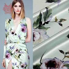 aliexpress com buy green with purple floral print spandex silk