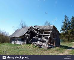 Small Country Houses Abandoned Small Old Wooden Country House Partly Destroyed Stock