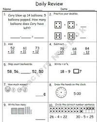 1st grade math review worksheet printable elementary math