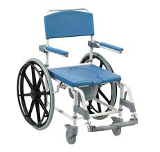 shower chair with armrests with bucket on casters aston