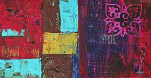 laura carter patchwork colorful abstract art painting close x