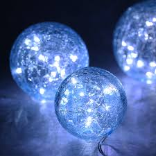String Lights Balls by Finether Christmas Party Battery Powered Crackled Glass Balls
