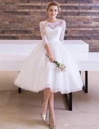 Tea Length Wedding Dress Discount Vintage Style Tea Length Wedding Dress 3 4 Sleeve Lace