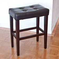 Comfortable Bar Stools Furniture Brown Wooden With Grey Tufted Cuhsion 24 Inch Bar