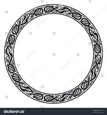 circular celtic ornamental frame entwined dogs stock vector
