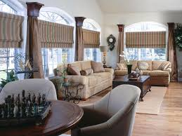 furniture living room window treatment ideas with brown striped