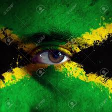 Colors Of Jamaican Flag Jamaican Flag Painted On Face Of A National Team Supporter Close