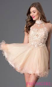 high neck lace dress short prom dress dave and johnny promgirl
