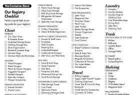 wedding gift list wedding registry checklist from the container store wish list