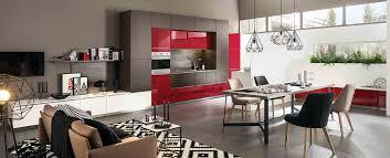 mobalpa accessoires cuisine cuisine moderne équipée ouverte sur salon ambiance cubiste