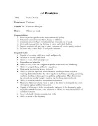 Sample Resume For Warehouse Picker Packer 16 Warehouse Job Description Resume Sample Audit Associate Resume
