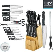 kitchen knife set 15 piece block stainless steel chef cutlery