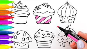 cupcakes drawing and coloring colouring pages for kids with