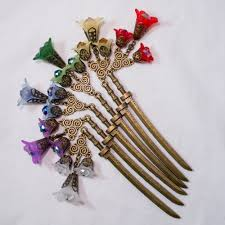 hair sticks flowered brass swords hair sticks a of random