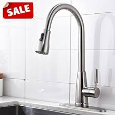kitchen faucet brushed nickel commercial stainless steel single handle pull sprayer kitchen