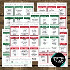 christmas party holiday taboo game 54 cards pdf instant