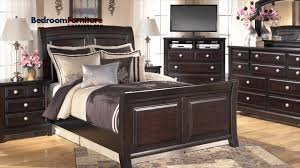 Furniture Bedroom Sets Ashley Ridgley 4 Piece Sleigh Bedroom Set In Dark Brown Youtube