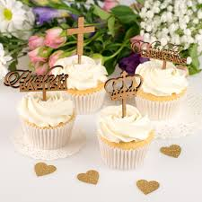 cupcake toppers personalised wooden baby cupcake toppers christening cupcake