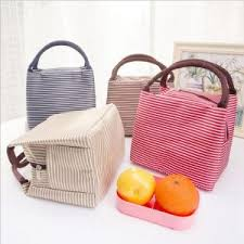 kids picnic basket leisure women portable lunch bag canvas stripe insulated cooler