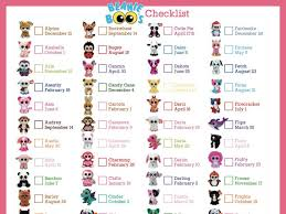 beanie boo checklist instant download 8 10 5 bee3shop pet