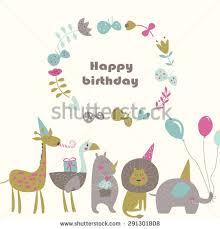 birthday card cute alligator bird giraffe stock vector 288838727