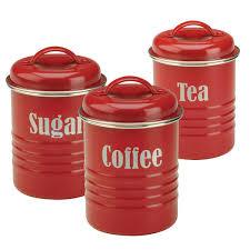 kitchen storage food storage modern colourful typhoon vintage tea coffee sugar storage set red storage tins