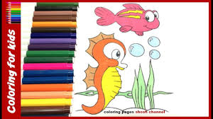 seahorse coloring page for kids speed coloring youtube