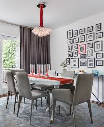 gallery wall frames dining room transitional with gray area rug