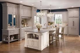 kraftmaid cabinets maple kitchen in pebble grey and canvas kraftmaid