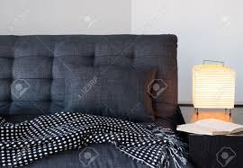 living room detail cozy gray sofa with cushion and throw table