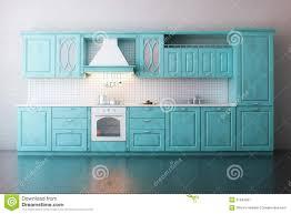 cuisine turquoise cuisine en bois classique peinte en turquoise illustration stock