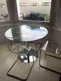 circular glass dining table 100cm diameter u0026 4 clear perspex