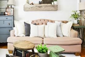 farmhouse throw pillows with grain sack stripes my creative days