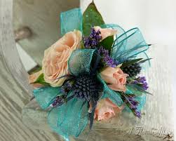 teal corsage flowers bf0689 apricot and teal corsage