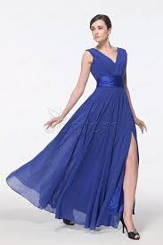 cheap royal blue v neck prom dresses with slit plus size formal dress