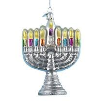 buy kurt adler 4 1 2 inch noble gems glass menorah ornament in