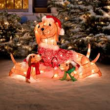 lighted dog christmas lawn ornament lighted dachshund dog family outdoor christmas decoration improvements