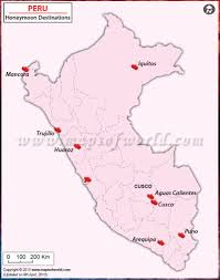 Peru On Map Peru Honeymoon Destinations Map Honeymoon In Peru