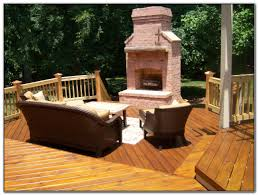 outdoor fireplace on wood deck decks home decorating ideas