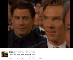 Benedict Cumberbatch Meme - john travolta and benedict cumberbatch meme from 2015 oscars