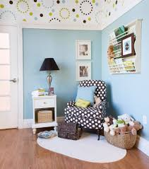 elegant baby boy nursery ideas with blue sky stained wall paint