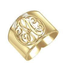 monogramed rings classic cutout cigar band monogram ring 18mm personalized jewelry