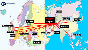 Map Of Abu Dhabi Turkmenistan Airlines Cheap Flights To Asia Route Map