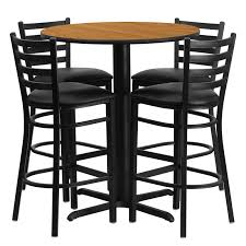 metal bar table set 30 round laminate table set with 4 ladder back metal bar stools