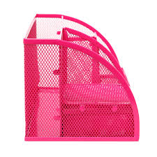 Wire Mesh Desk Accessories by 6 Compartment Desk Organizer Office Supply Caddy Pink Mygift